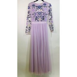 Frock and Frill New Purple Floral Gown